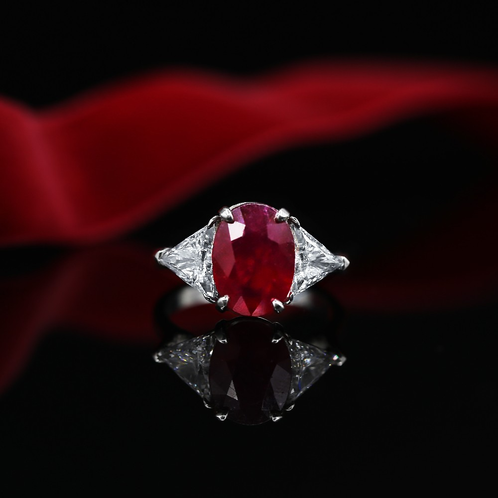 Beautiful Color Stone Cocktail Ring with center Ruby and side Diamonds