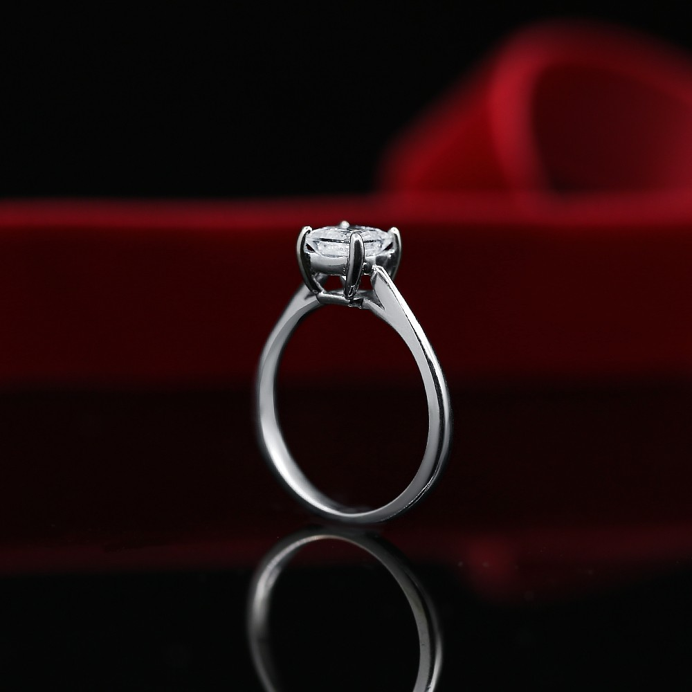 White Gold Engagement Ring with Solitaire 1.01ct Princess Cut Diamond