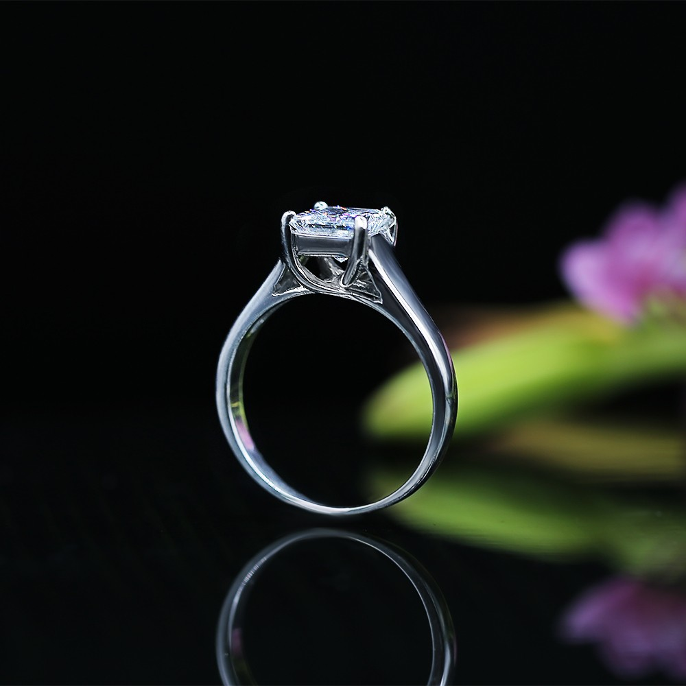 White Gold Engagement Ring with Solitaire 1.10ct Princess Cut Diamond