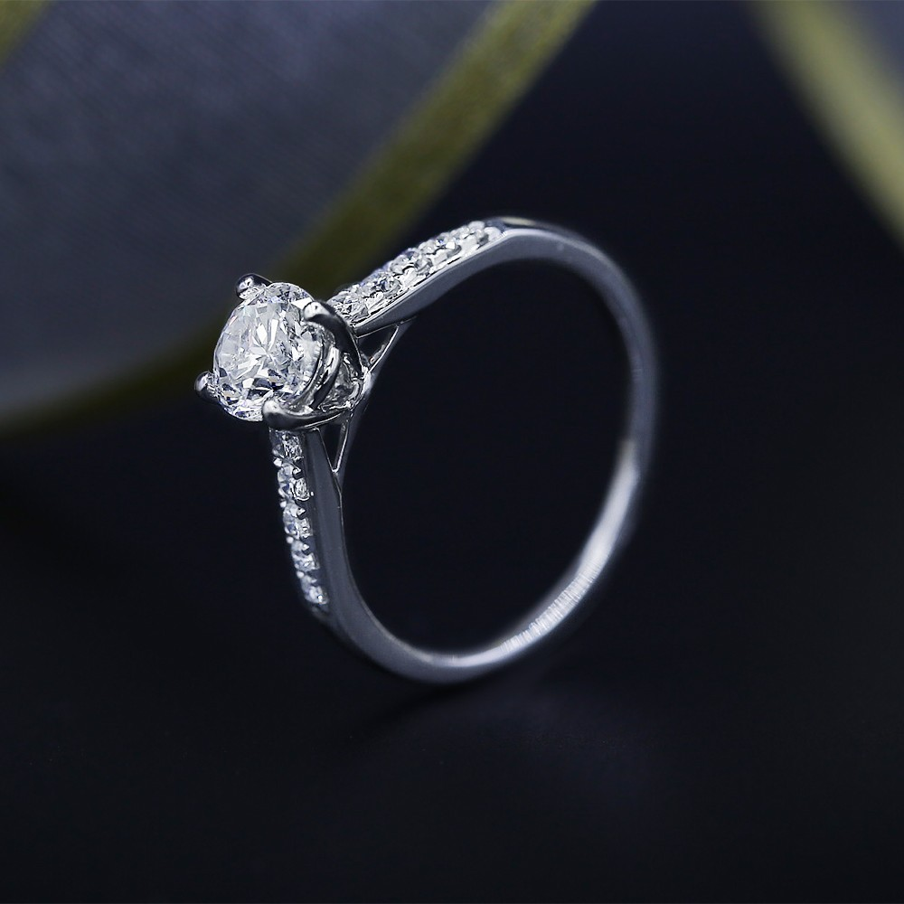 Certified 14k White Gold Engagement Ring with Solitaire 1.08ct Round