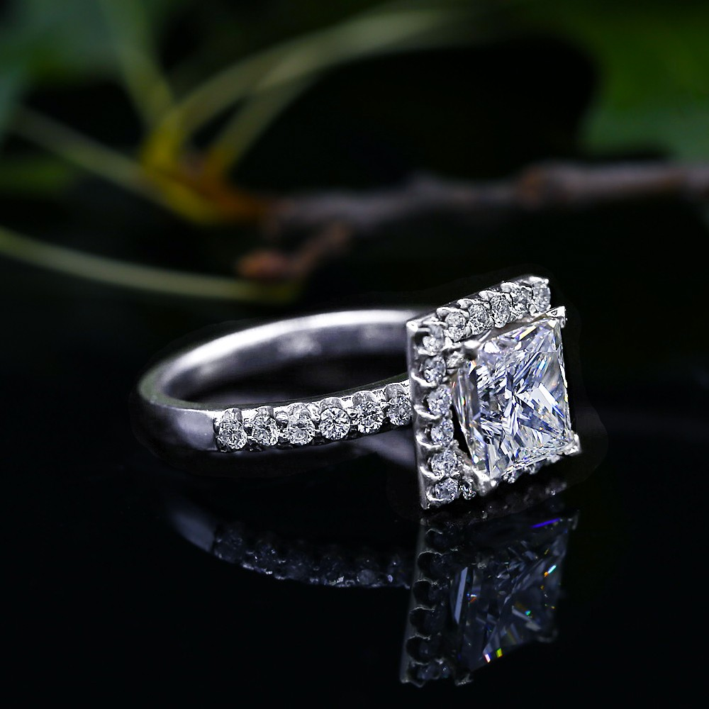 14k White Gold Engagement Ring with 3.02ct Natural Princess Cut Diamon