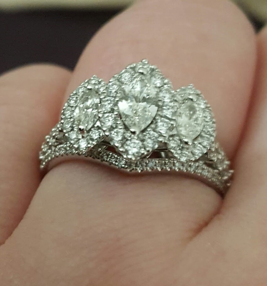1-1/2 CT. T.W. Marquise Diamond Frame Past Present Future Ring in 14K,