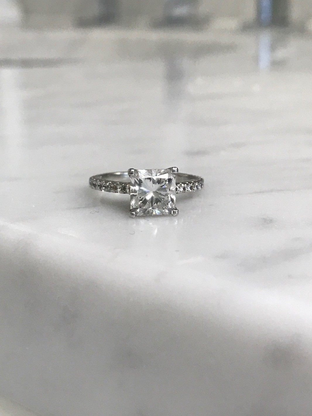 GIA 2 Carat VS1 F Radiant Diamond Ring, Platinum Diamond band.