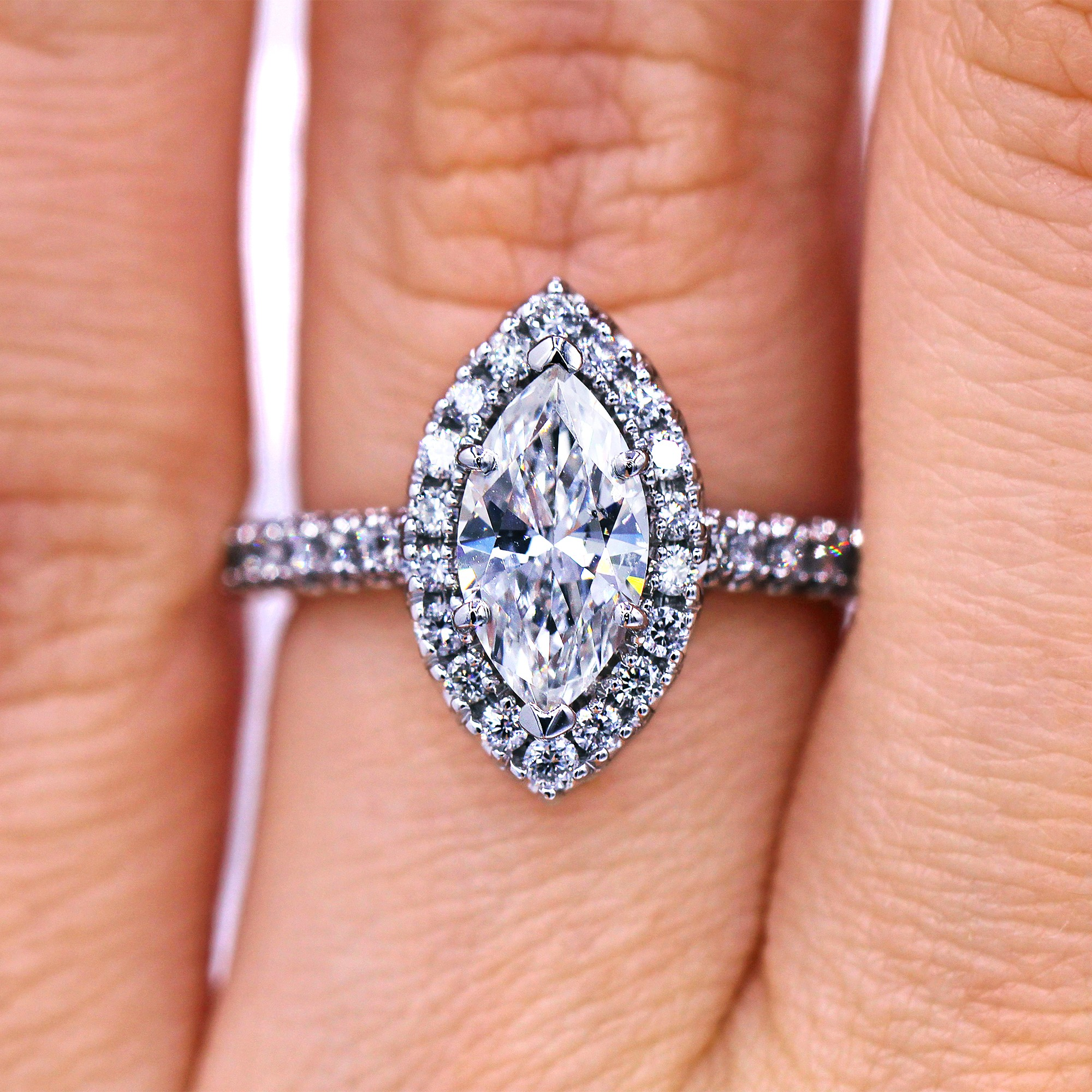 Insanely Gorgeous Halo Marquise Natural Diamond Ring