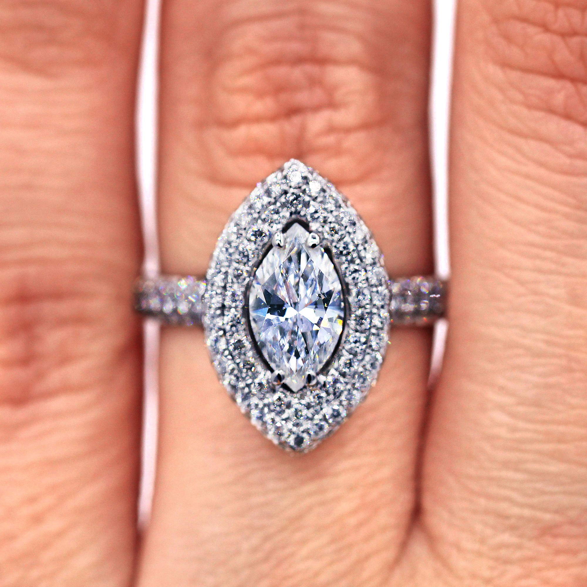 1.00 ct Marquise Micropave Diamond Engagement Ring
