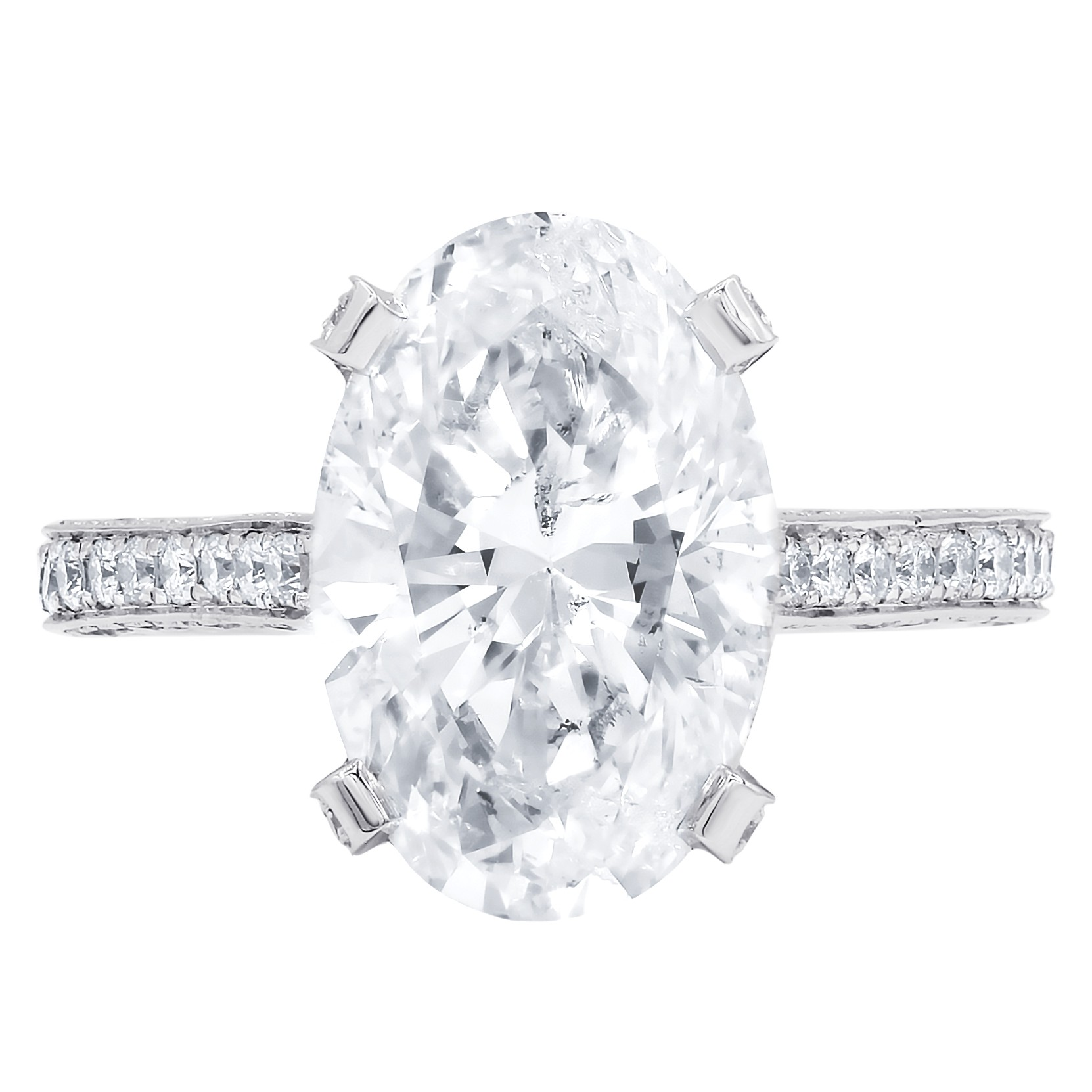 EGL Certified 4.08 cts oval cut E-SI2 diamond ring