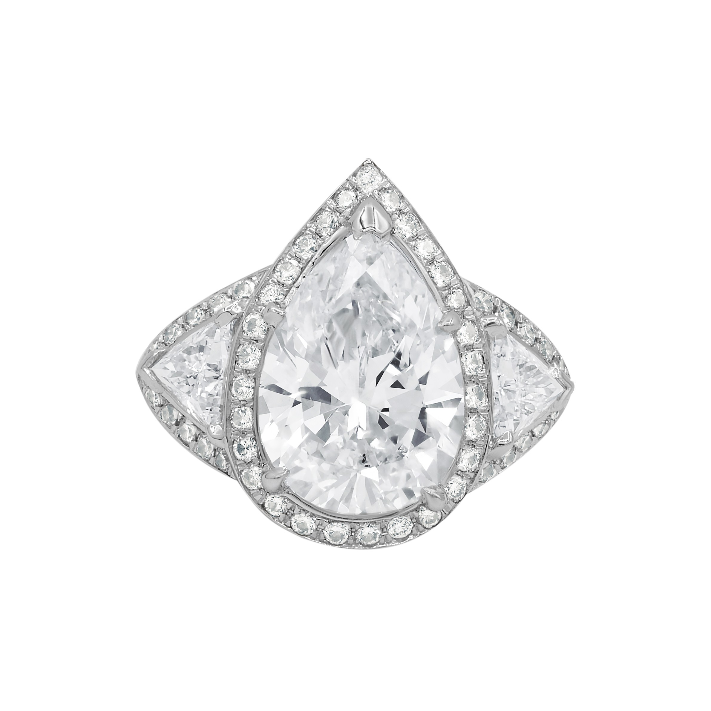 Bespoke GIA certified pear and trillion cut diamond ring