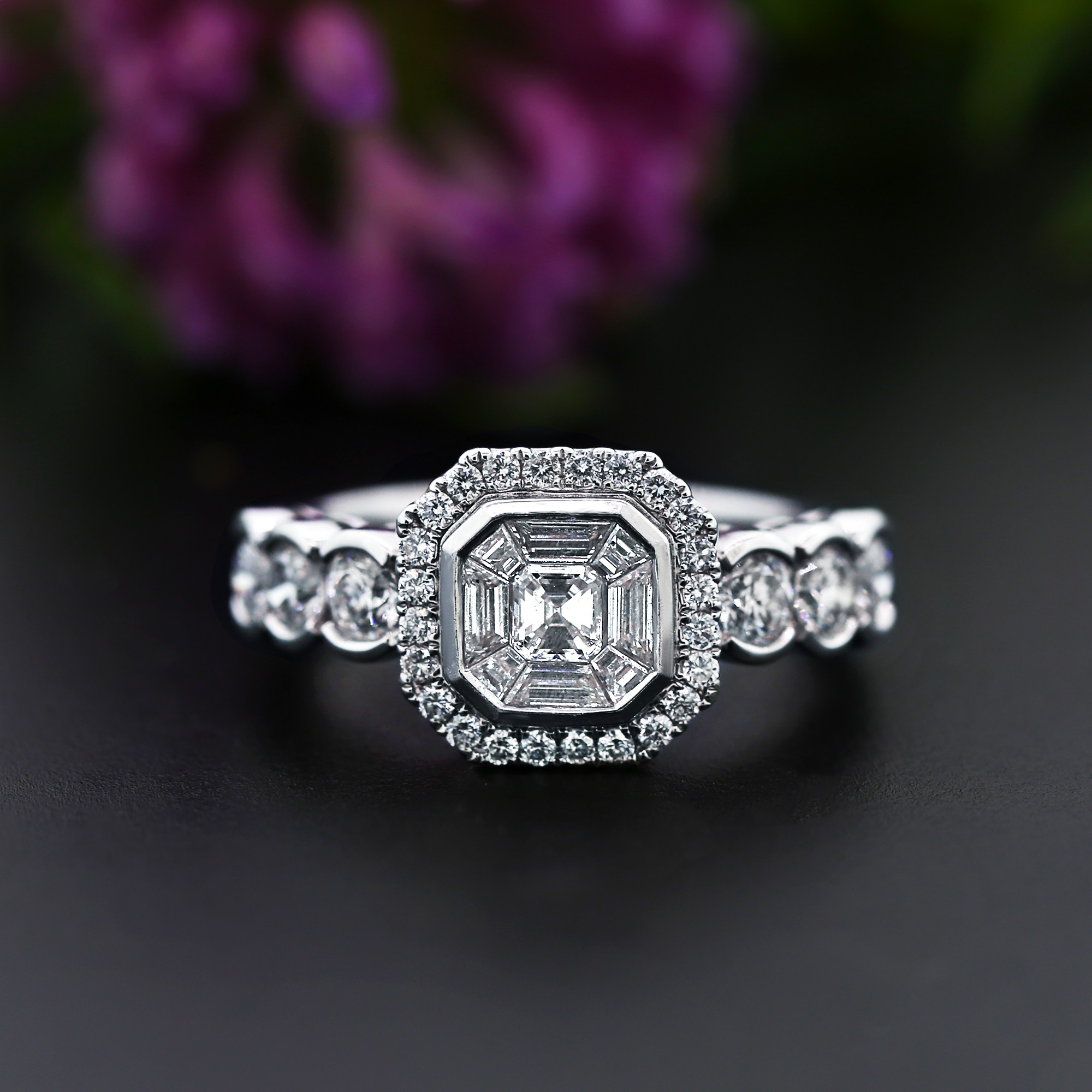 Engagement Ring with 1.50ct of Total Diamond Weight crafted in 18k WG
