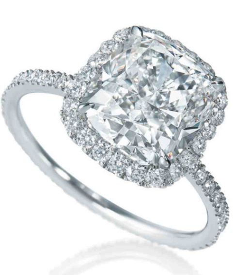 GIA certified 1.70cts halo cushion cut diamond ring