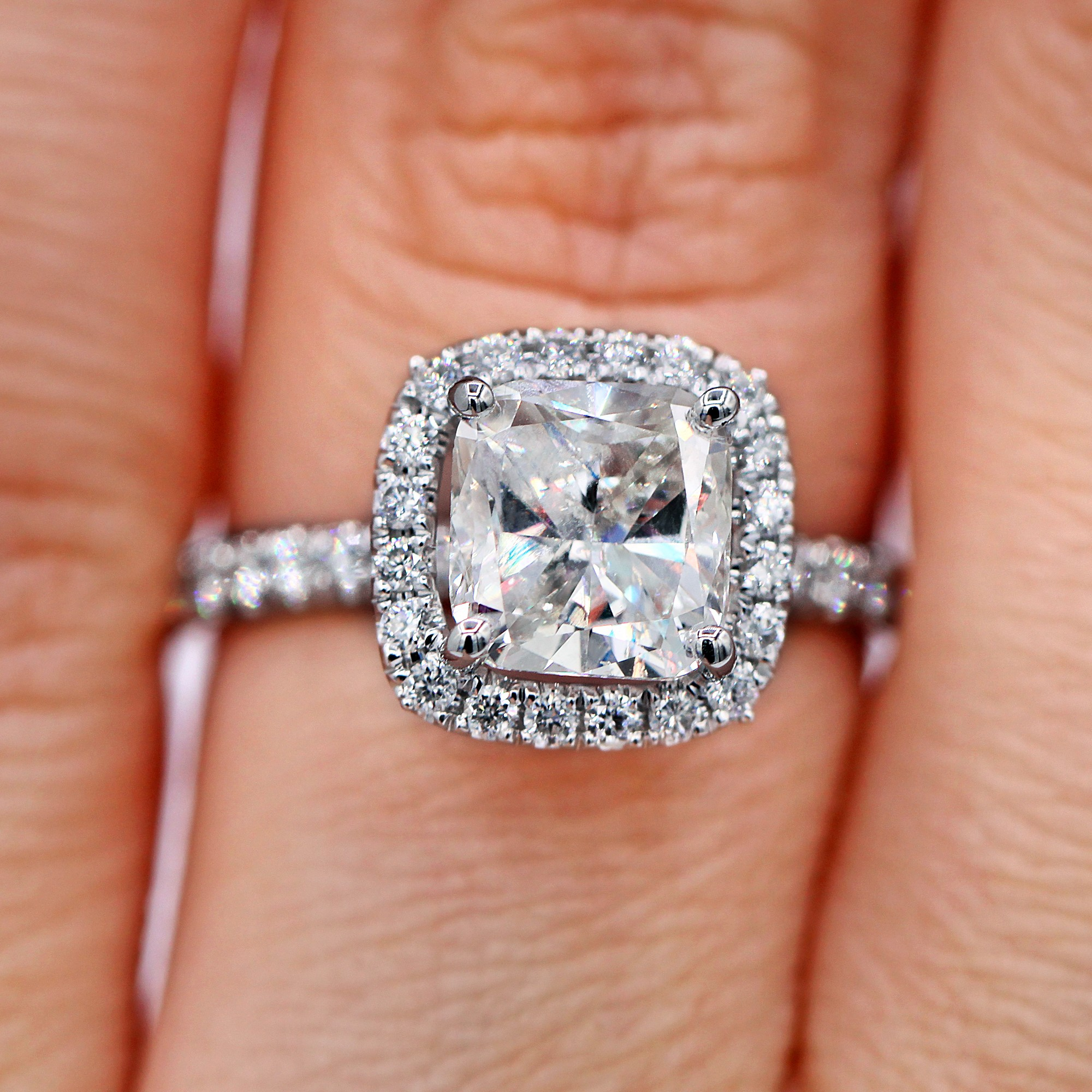 Magnificent 2.35 TCW Cushion Halo Diamond Ring AGI Certified