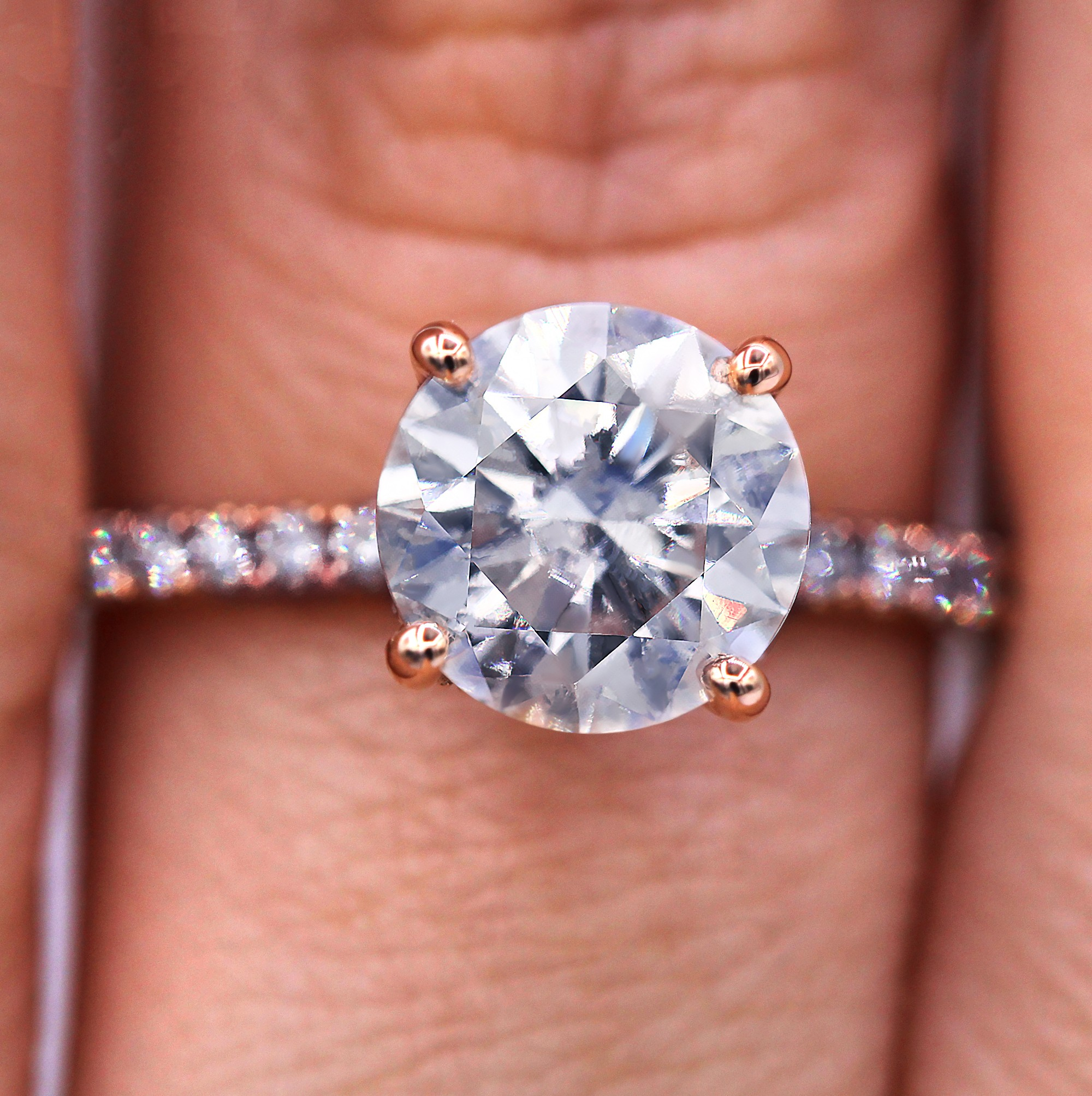 Delicate 2.00 carat round cut diamond engagement ring