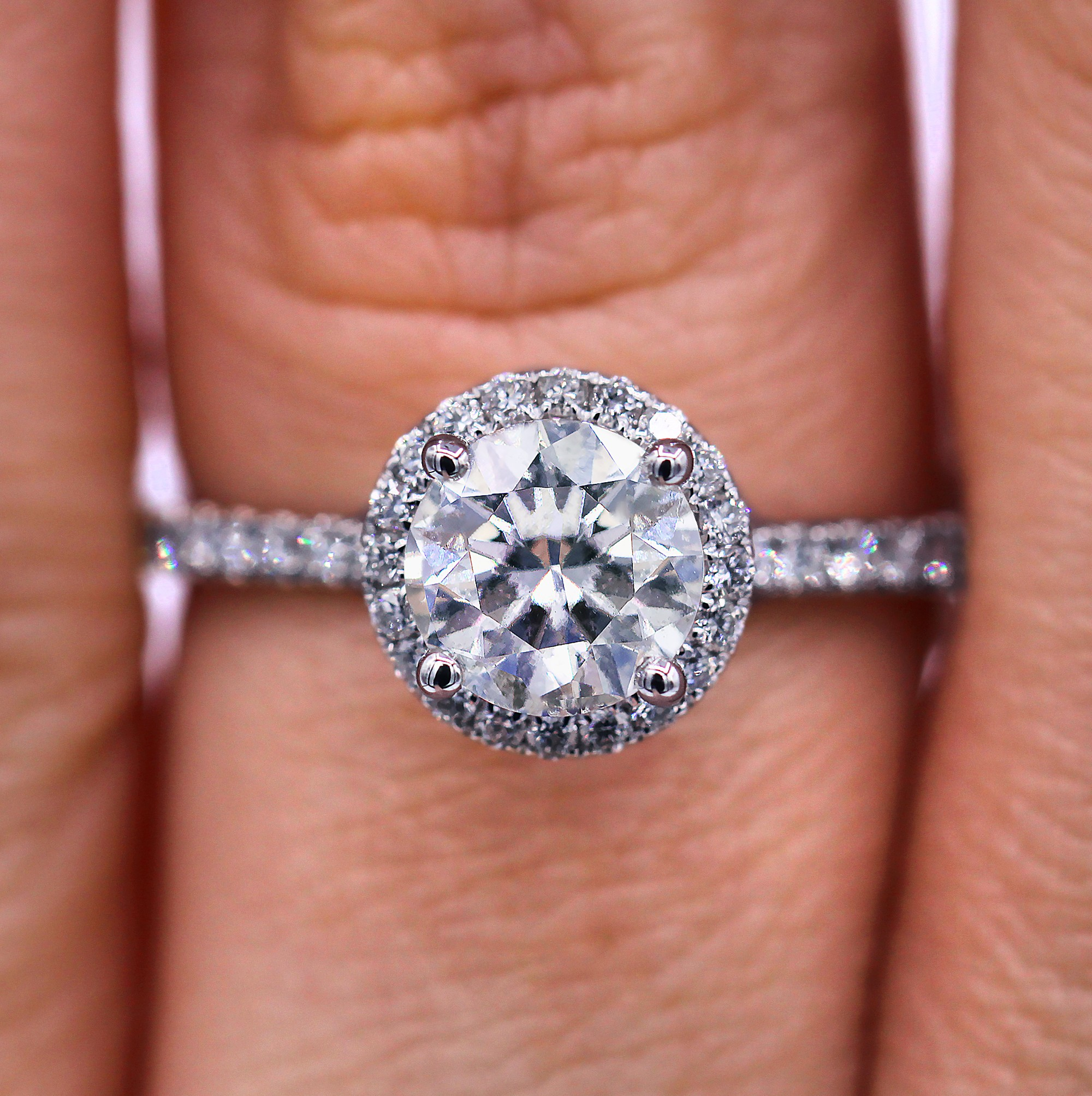 Delicate Halo 1.29 cts diamond ring