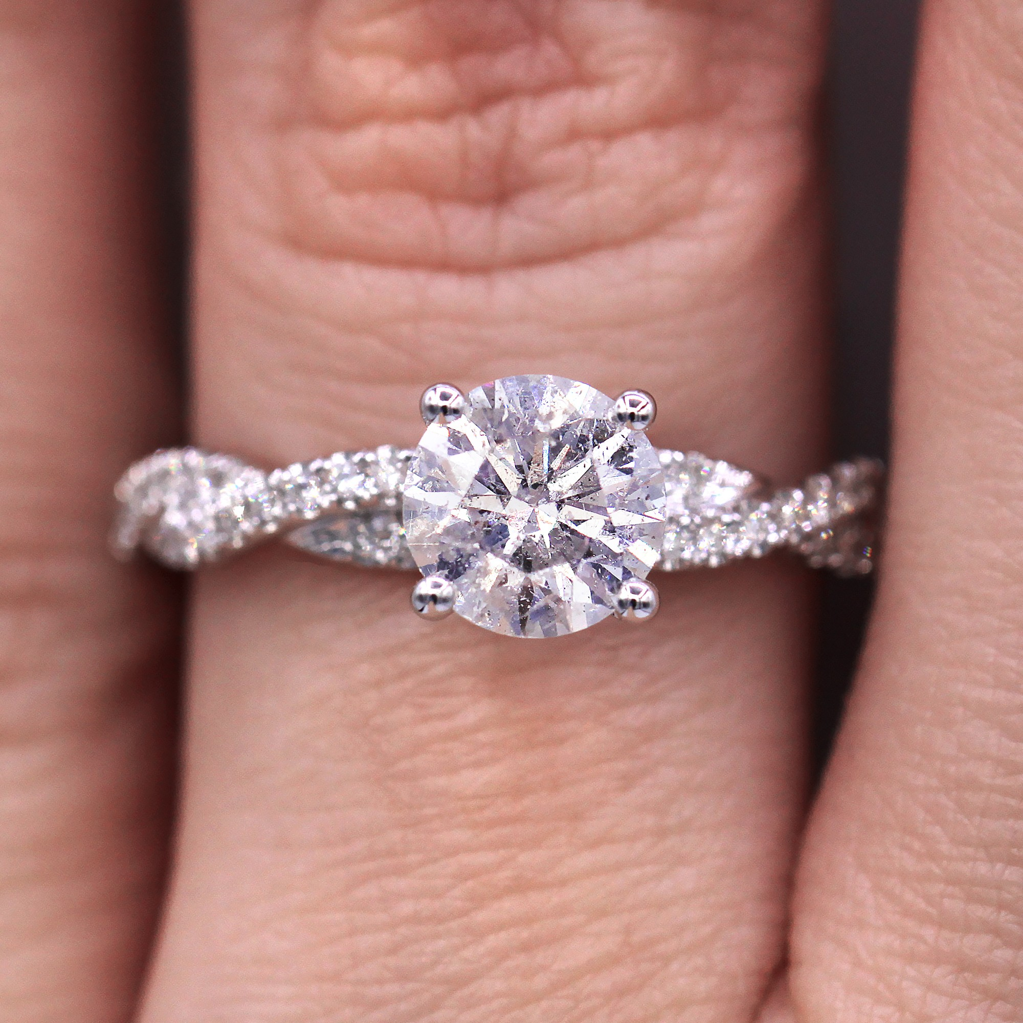 Twisted Micropave 1.30TCW Diamond Engagement Ring