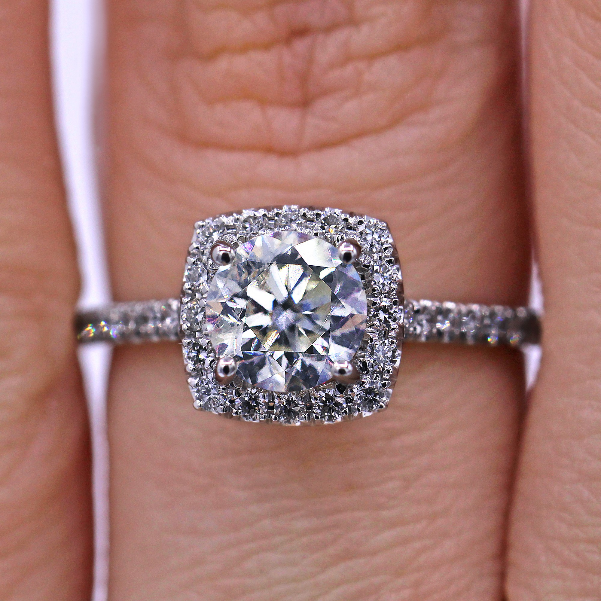 Certified 2.11 TCW Halo Diamond Engagement Ring
