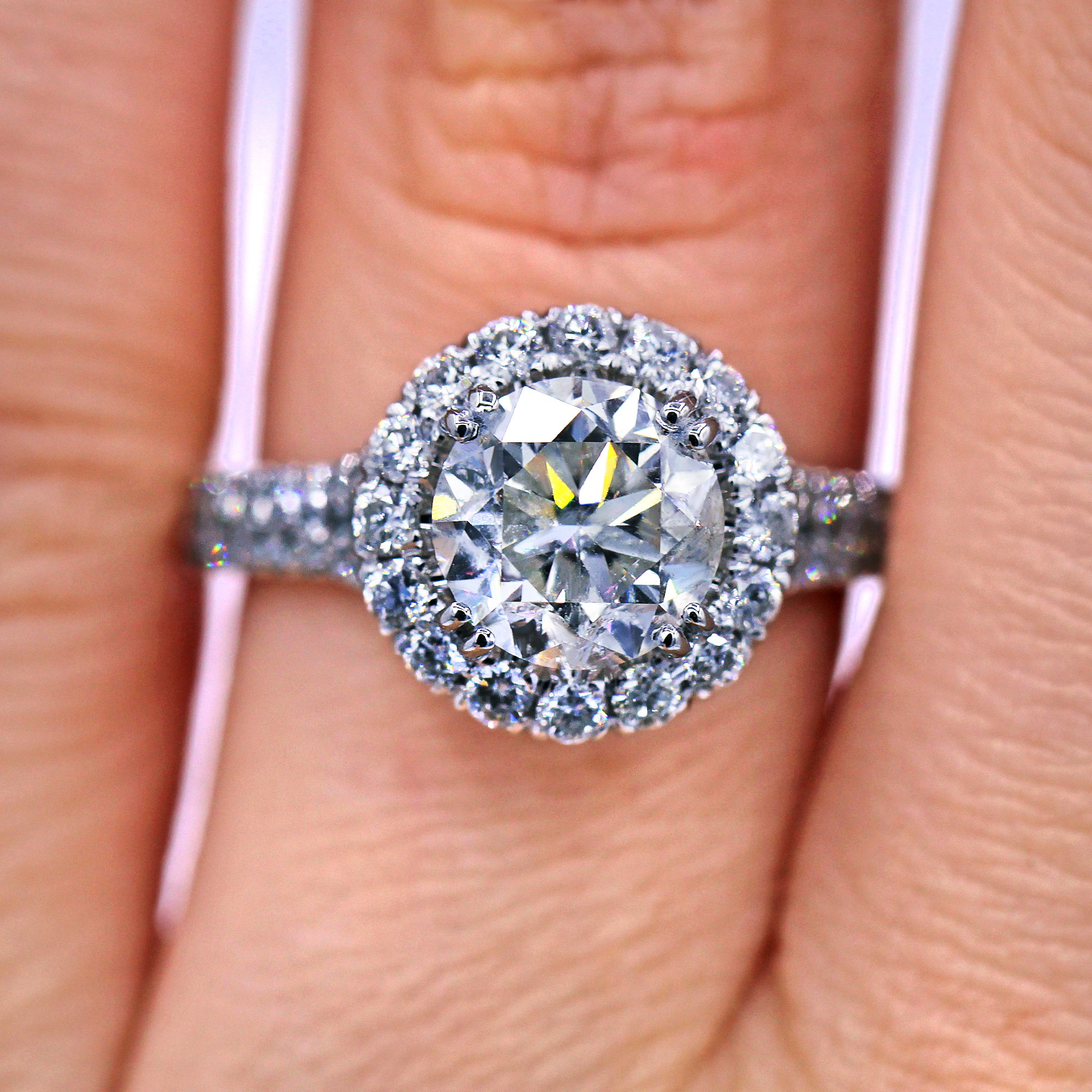 Certified 3.02 TCW Halo Diamond Engagement Ring