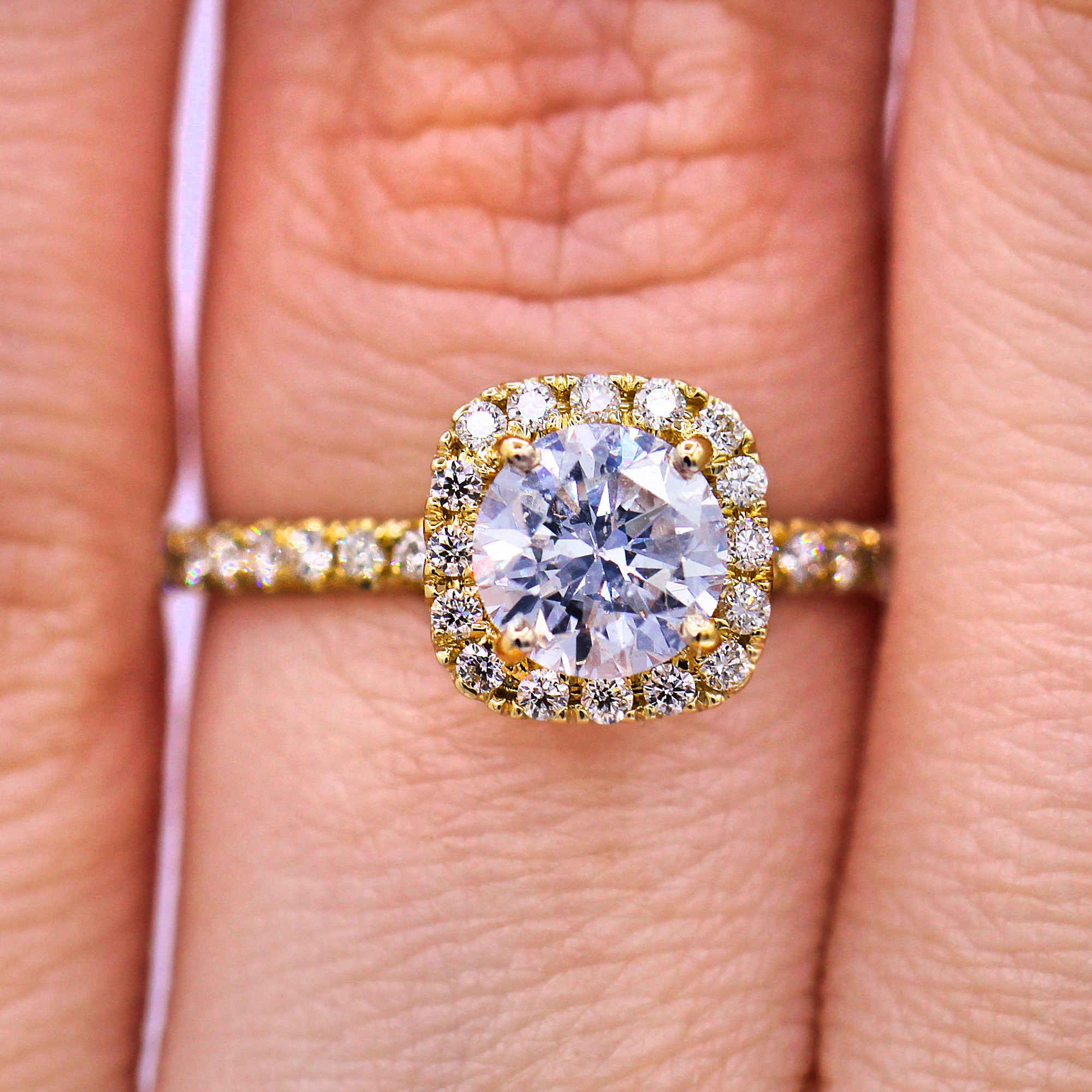 0.90 Ct Micropave Halo Round Diamond Ring in Yellow Gold