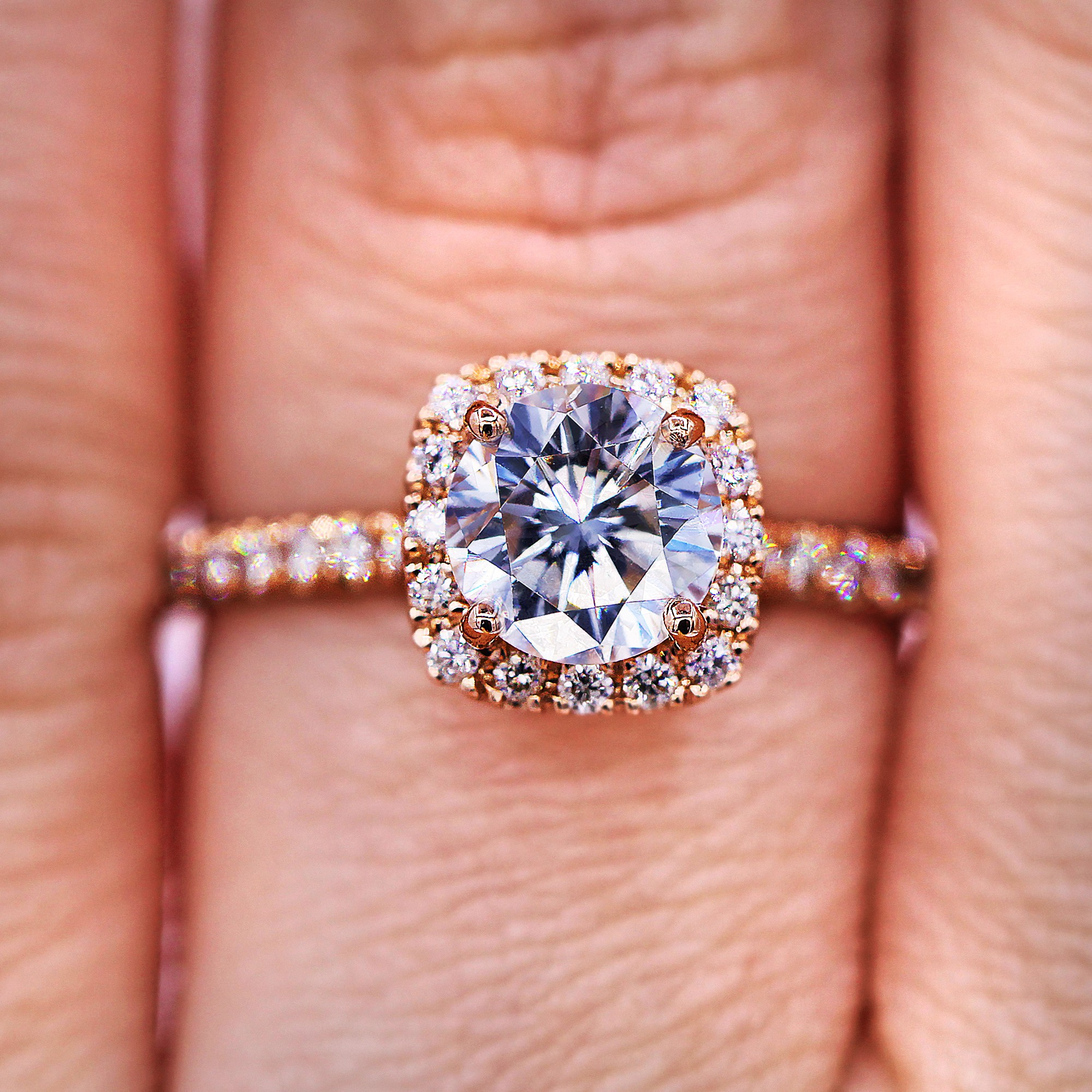 Delicate Rose Gold Halo Diamond Engagement  Ring
