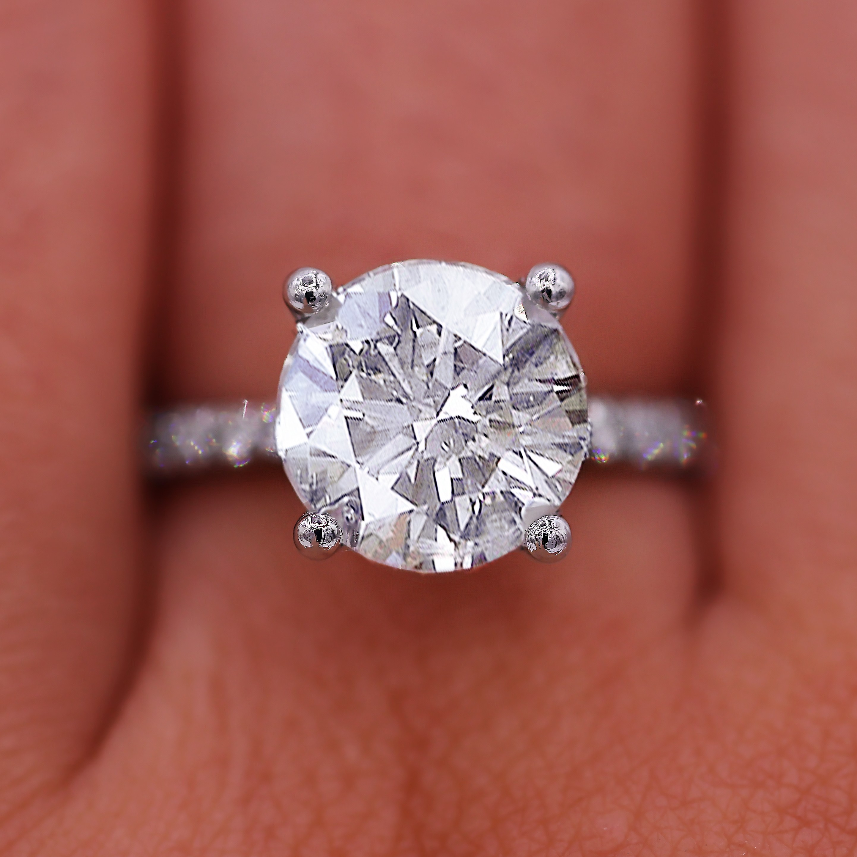4.01 ct Outstanding Pave Diamond Engagement Ring