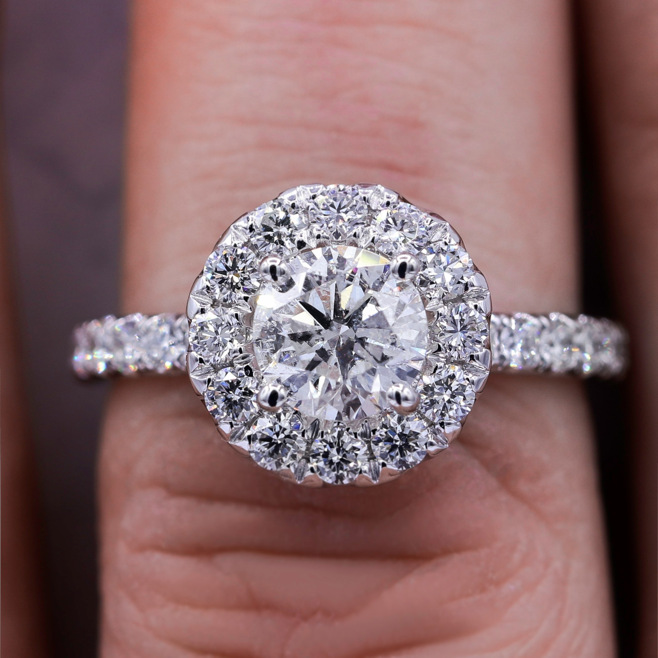 Stunning 1.86TCW Halo Diamond Engagement Ring