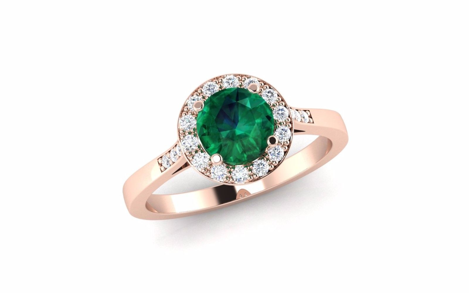 18-carat rose gold emerald and diamond halo cluster engagement ring