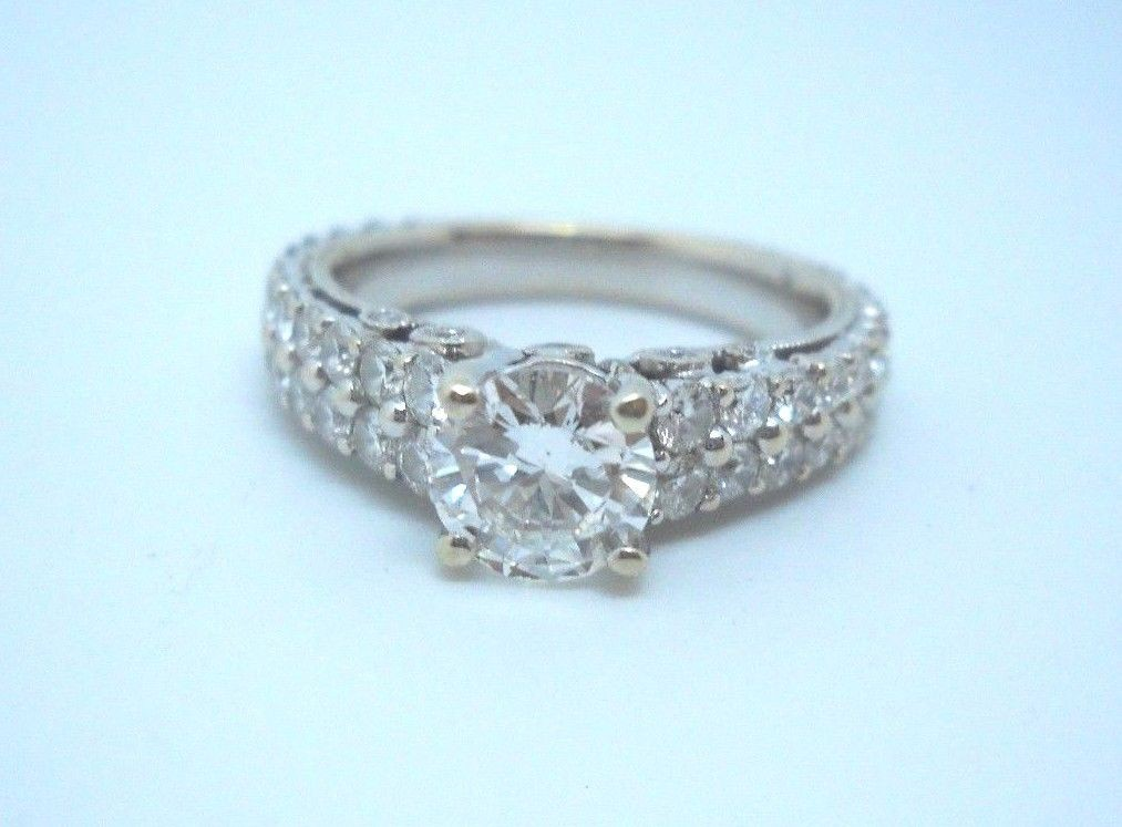 1.06ct Genuine Diamond & 14KT White Gold Engagement Ring 1.75tcw