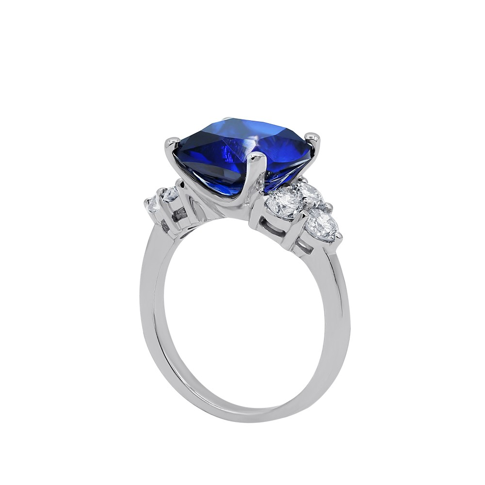 Beautiful Color Stone Cocktail Ring with center Blue Sapphire and side