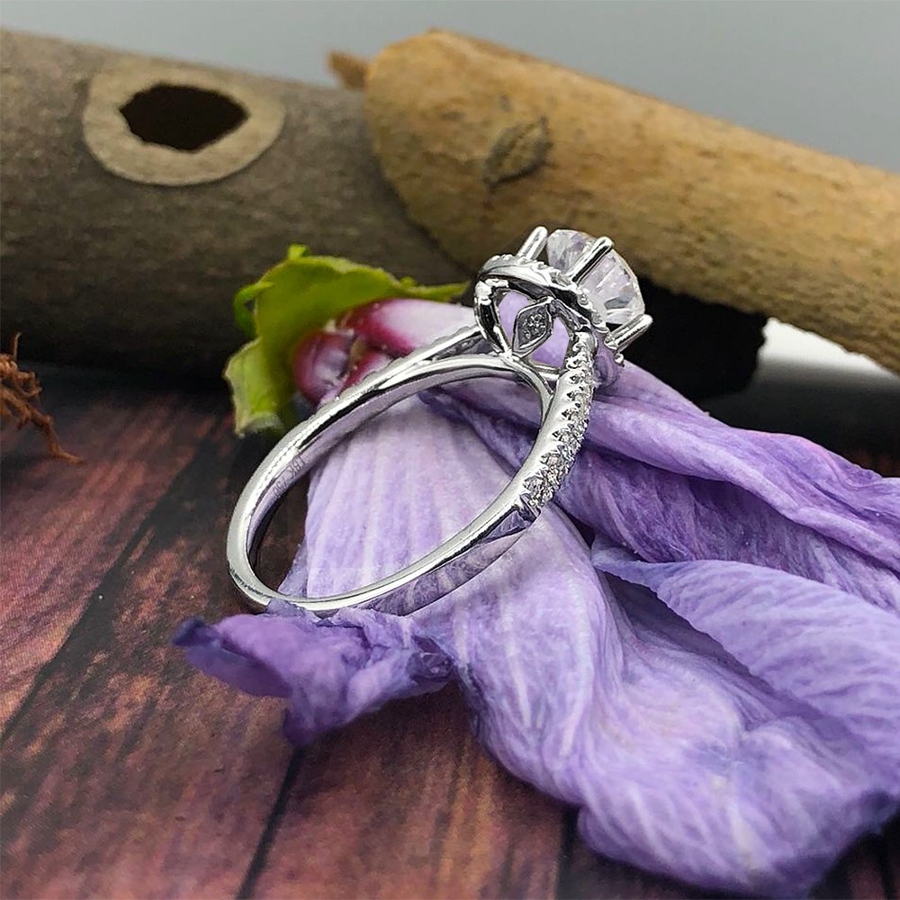 ELEGANT ENGAGEMENT RING WITH CENTER 1.19CT ROUND CUT DIAMOND