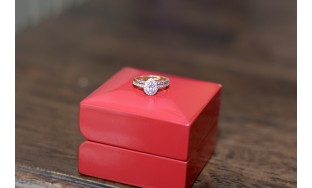 Brilliant Pear Halo Pavè engagement ring with diamond band