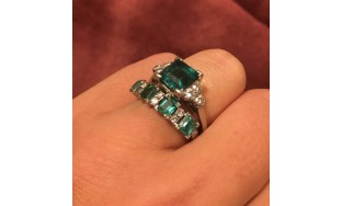 Emerald Rings Set in Platinum Used