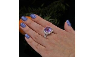 Fashion ring features center 13 mm in Radius Pink Amethyst VIDEO