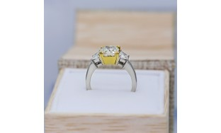PLATINUM ENGAGEMENT RING WITH CENTER 3.01CT CUSHION CUT FANCY YELLOW