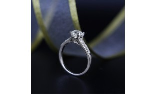 Engagement Ring with Solitaire 1.08ct Round Cut Diamond VIDEO